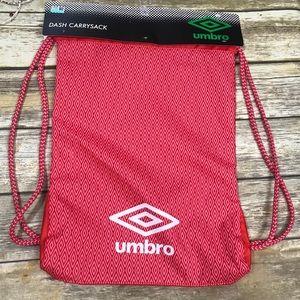 Umbro Drawstring Bag Red Gray Carry Sack